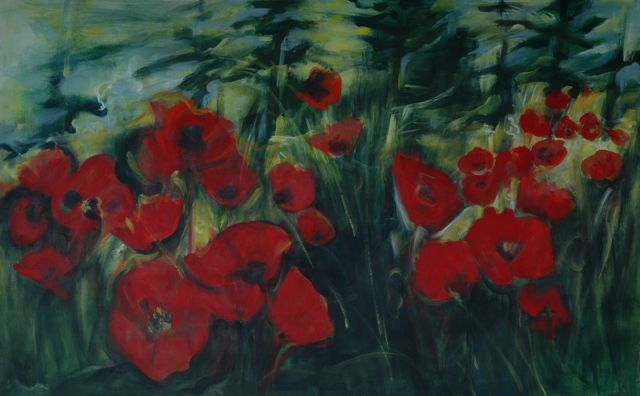 "mommies and poppies | acrylic on canvas  | 40"" x 60"" 