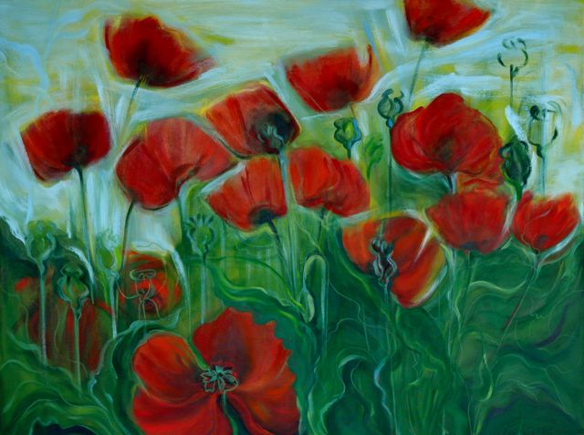 "study of poppies #6	 | oil on canvas |  30"" x 40"" 