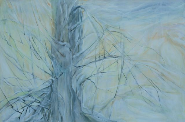 "tree february			acrylic on canvas    40"" x 60""   2009"